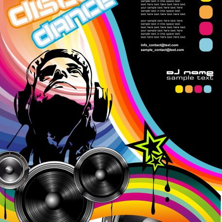 Abstract Discoteque promotional event Flyer with Dj Shape and colorful design elements